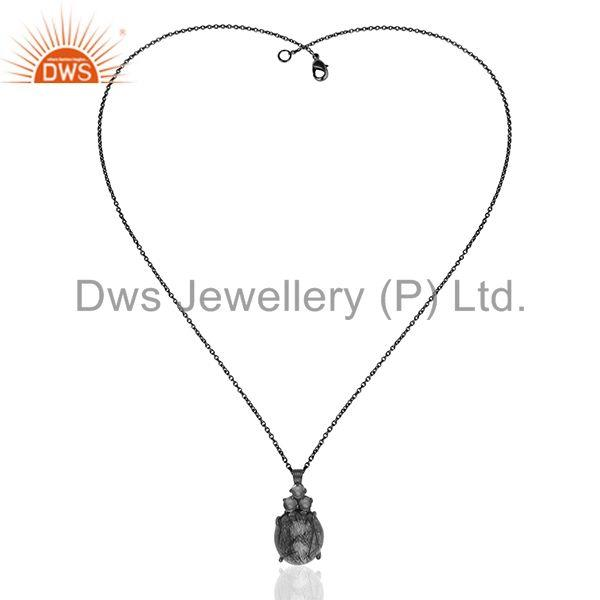 Exporter Black Rutile and Crystal Quartz Gemstone  Black Silver Chain Pendant