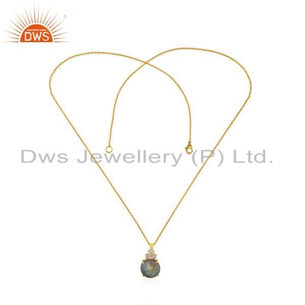 Exporter Crystal Quartz and Labradorite Gemstone Gold Plated 925 Silver Chain Pendant