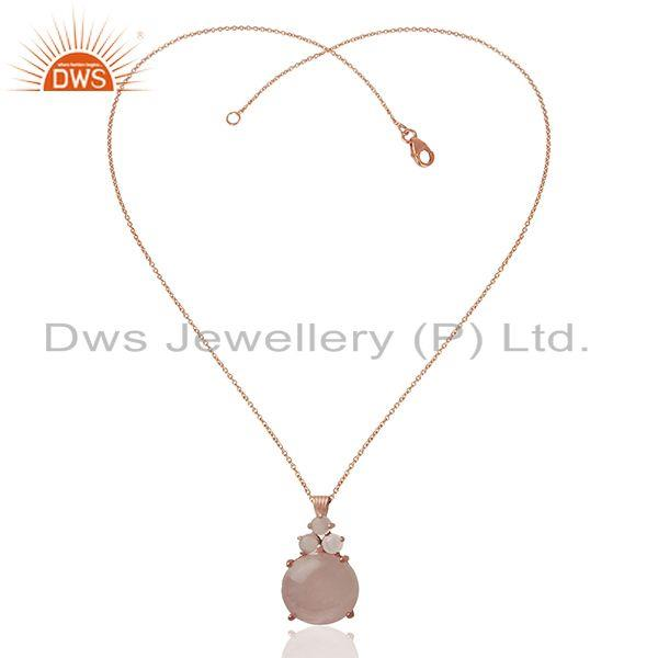 Exporter Rose Quartz Gemstone Rose Gold plated 92.5 Silver Chain Pendant
