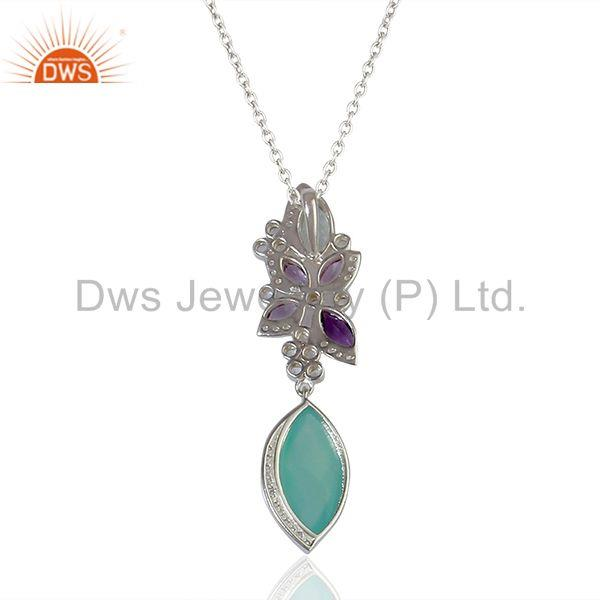 Exporter Aqua Chalcedony Gemstone White Topaz Gemstone Pendant Necklace