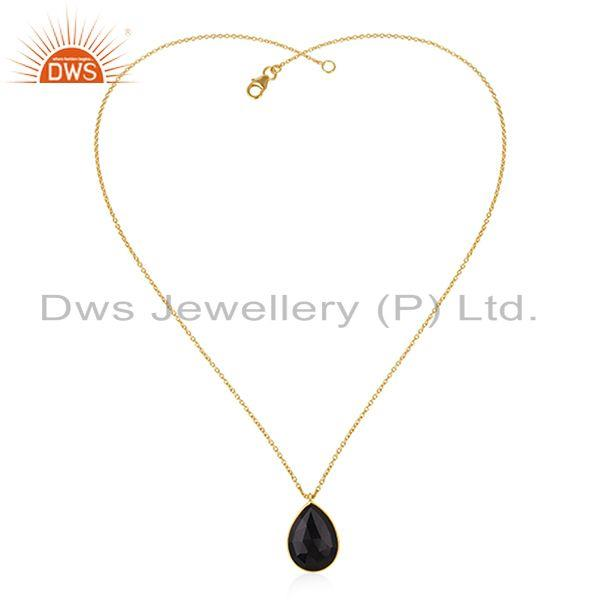 Exporter Black Onyx Gemstone 925 Silver Gold Plated Chain Pendant Wholesale