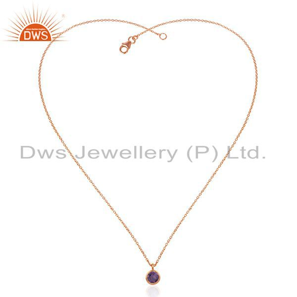 Exporter Handmade Rose Gold Plated 925 Silver Chain Amethyst Gemstone Pendant Wholesale