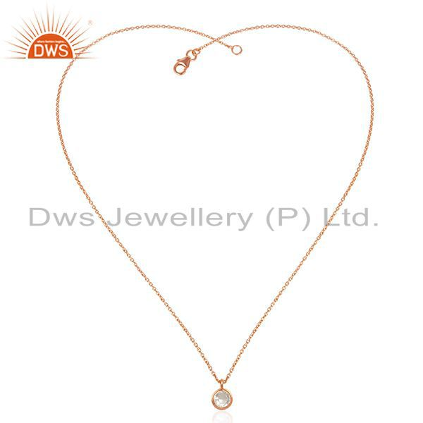 Exporter Crystal Quartz Stone Rose Gold Plated 925 Silver Chain Pendant Manufacturers
