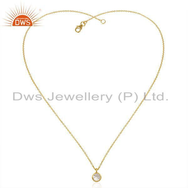 Exporter Crystal Quartz Gold Plated 92.5 Sterling Silver 18inch Chain Pendant Wholesaler