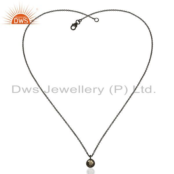 Exporter Pyrite Gemstone 925 Silver Black Rhodium Plated Pendant Wholesale Suppliers