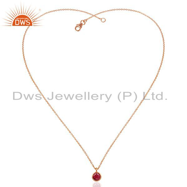 Exporter Ruby Corundum Gemstone Rose Gold Plated 925 Silver Pendant Supplier Jaipur India