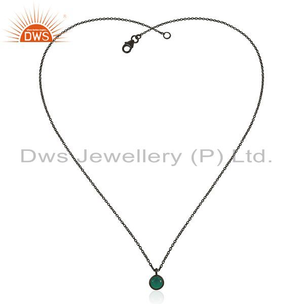 Exporter Green Onyx Gemstone Black Rhodium Plated Silver Designer Pendant Wholesale