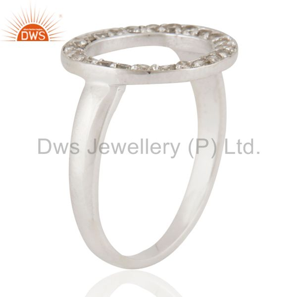 Exporter 925 Sterling Silver Pave Set Natural Diamond Open Circle Ring