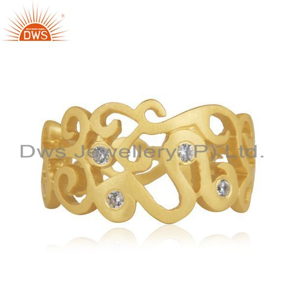 Exporter 18K Yellow Gold Plated Sterling Silver Cubic Zirconia Designer Band Ring