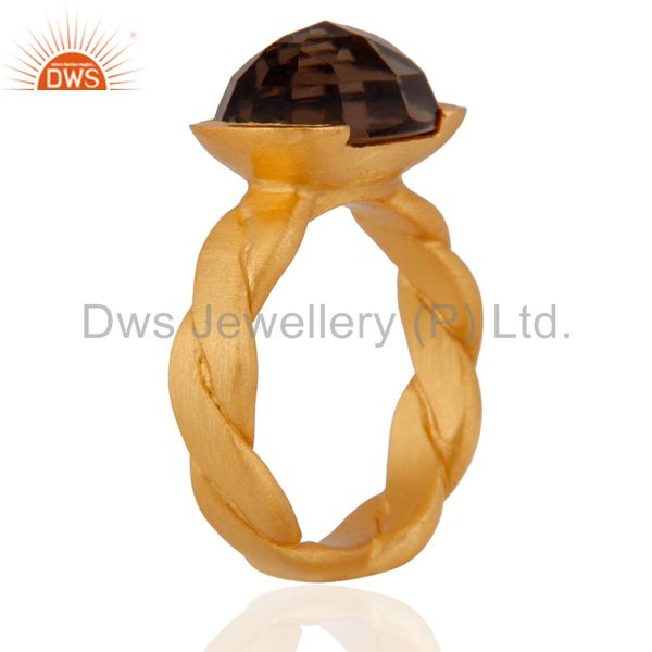 Exporter 18K Yellow Gold Plated Sterling Silver Smoky Quartz Designer Ring