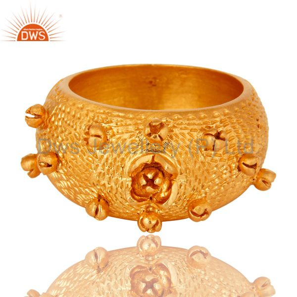 Exporter 18K Yellow Gold Plated Sterling Silver Textured Design Dome Ring Jewelry