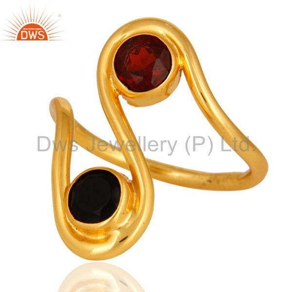 Exporter Handmade Black Onyx And Garnet Gemstone Ring With 14K Yellow Gold Plated