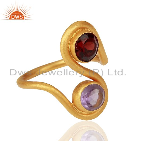 Exporter Amethyst and Garnet Gemstone Gold Plated Silver Fashion Ring Jewelry