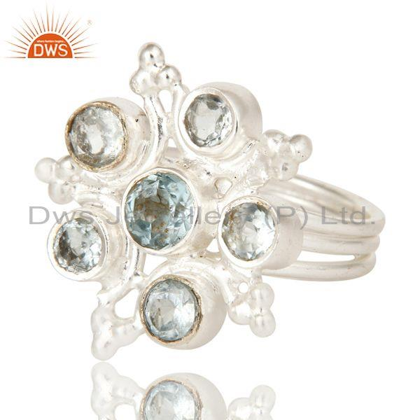 Exporter Solid 925 Sterling Silver Handmade Natural Blue Topaz Ring Fine Jewellery