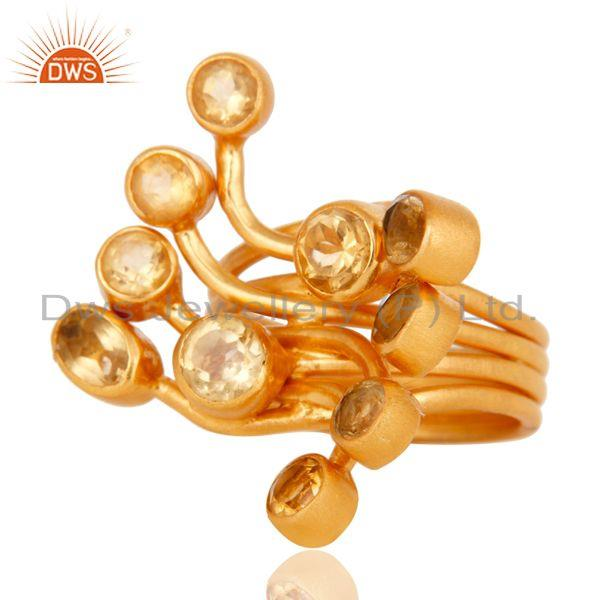 Exporter Round Cut Citrine Gemstone Ring Made In 18K Gold Over Sterling Silver