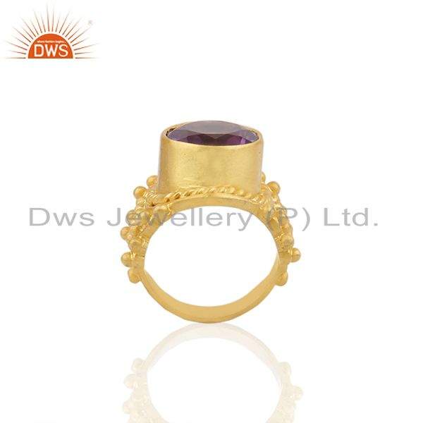 Exporter 18K Yellow Gold Plated Sterling Silver Amethyst Gemstone Cocktail Ring