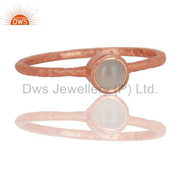 Wholesalers 18K Rose Gold Plated Sterling Silver Aqua Blue Chalcedony Gemstone Stack Ring