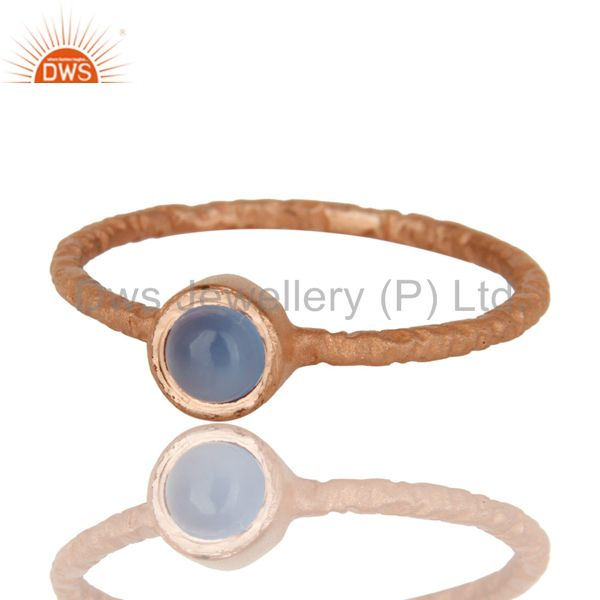 Exporter 18K Rose Gold Sterling Silver Aqua Blue Chalcedony Hammered Stackable Ring
