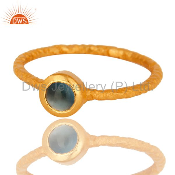 Exporter 18K Yellow Gold Plated Sterling Silver Aqua Blue Chalcedony Gemstone Stack Ring