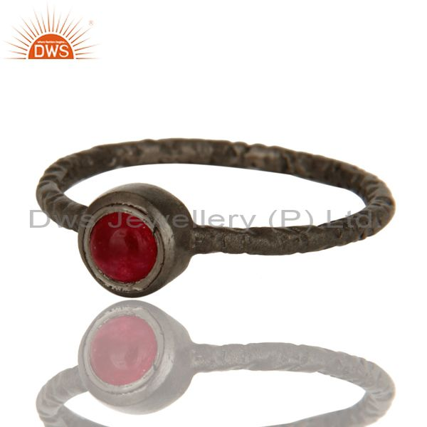 Exporter Black Rhodium Plated Sterling Silver Hand Hammered Pink Chalcedony Stack Ring