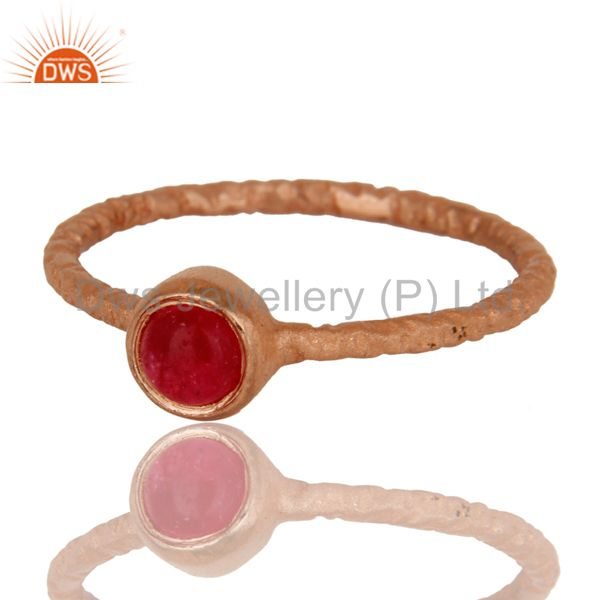 Exporter Natural Pink Chalcedony 18K Rose Gold Plated Sterling Silver Hand Hammered Ring