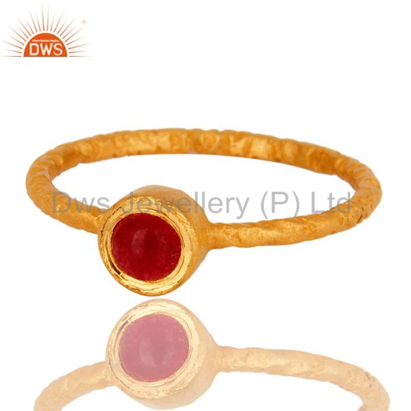 Exporter 18K Yellow Gold Plated Sterling Silver Hand Hammered Pink Chalcedony Ring