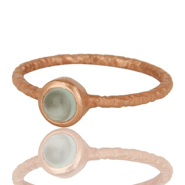 Exporter 18K Rose Gold Plated Sterling Silver Aqua Blue Chalcedony Gemstone Stack Ring