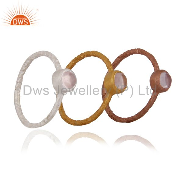 Manufacturer of 18K Gold Plated Sterling Silver Rose Quartz Gemstone Stack Ring 3 Pcs Set