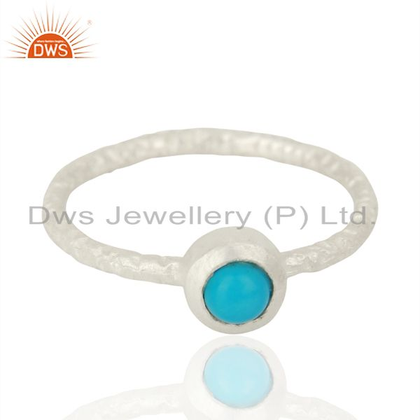 Exporter Natural Turquoise Gemstone 925 Sterling Silver Stackable Ring Jewelry