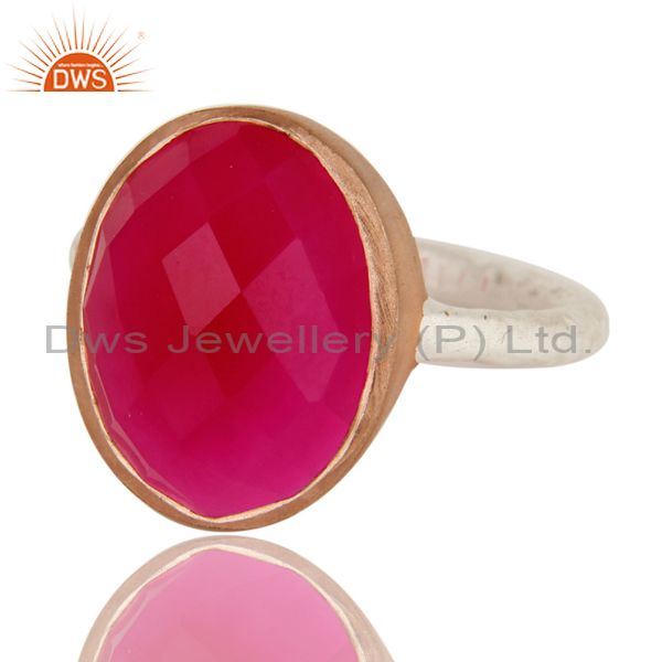 Exporter Dyed Pink Chalcedony Gemstone Sterling Silver And Rose Gold Plated Bezel Ring