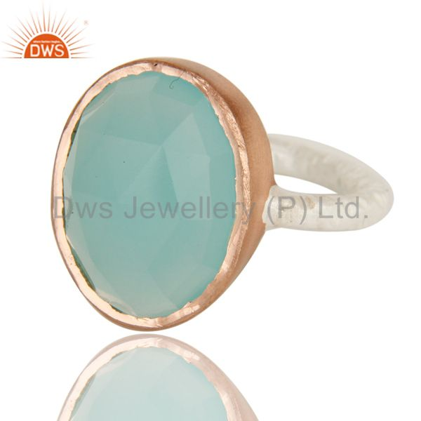 Exporter Dyed Aqua Blue Chalcedony Gemstone Sterling Silver Ring With Rose Gold Plated