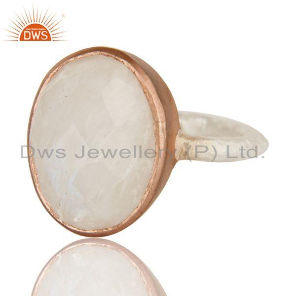 Exporter Natural Rainbow Moonstone 18K Gold Over Sterling Silver Gemstone Ring