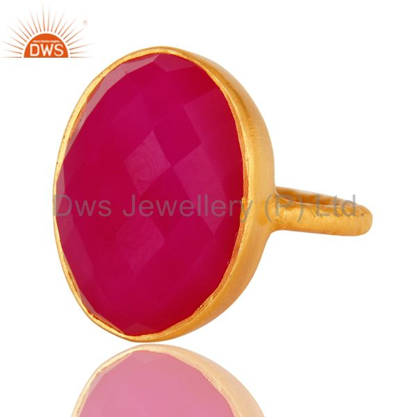 Exporter Faceted Pink Chalcedony Gemstone 18K Gold Plated Sterling Silver Stackable Ring