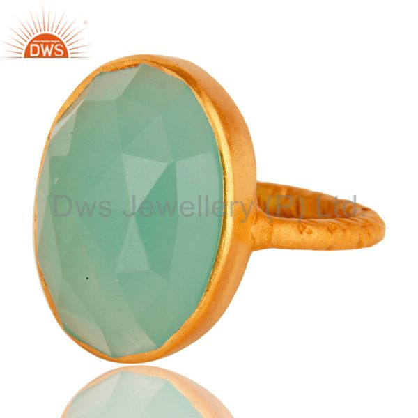Exporter 18K Yellow Gold Over Sterling Silver Aqua Blue Chalcedony Stacking Ring