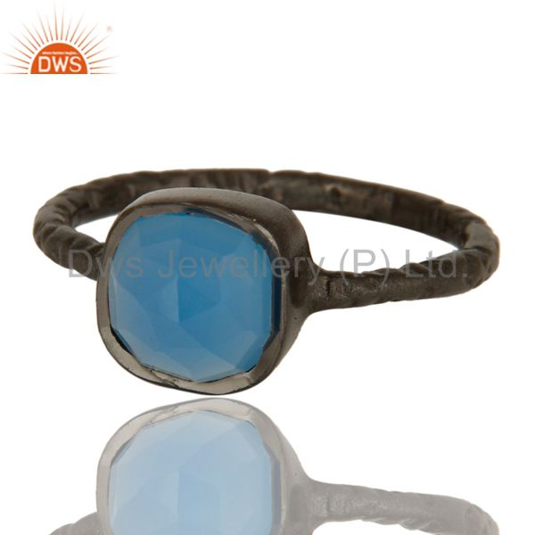 Exporter Black Rhodium Plated Sterling Silver Aqua Blue Chalcedony Stacking Ring