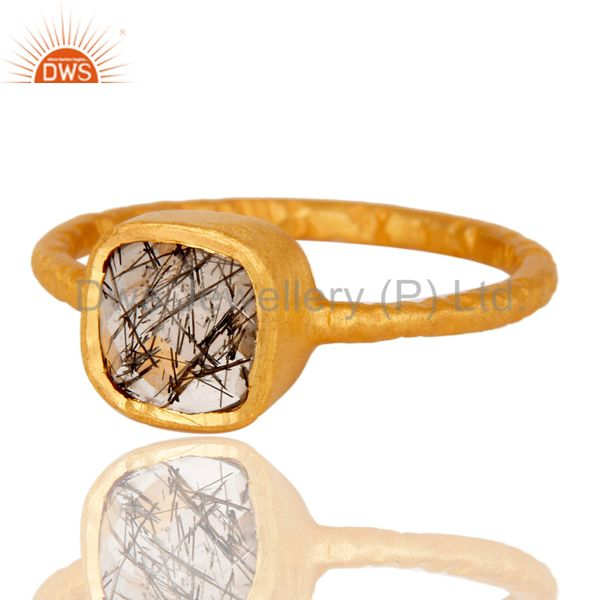 Exporter 18K Yellow Gold Over Sterling Silver Black Rutile Stacking Ring