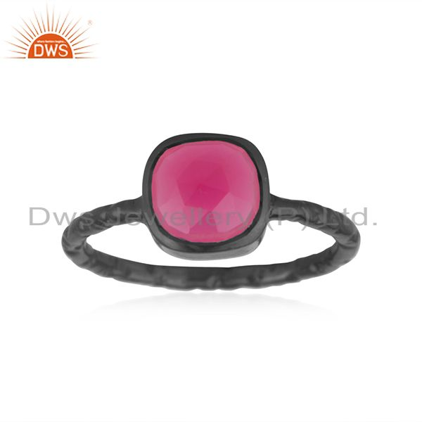 Exporter Dyed Pink Chalcedony Gemstone Black Rhodium Plated Sterling Silver Ring