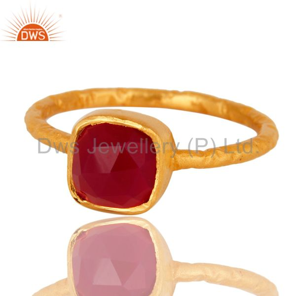 Exporter Dyed Pink Chalcedony Gemstone 18K Gold Plated Sterling Silver Ring