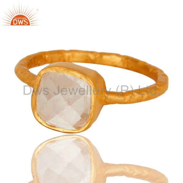 Exporter Faceted Rainbow Moonstone 18K Gold Plated Sterling Silver Stacking Ring