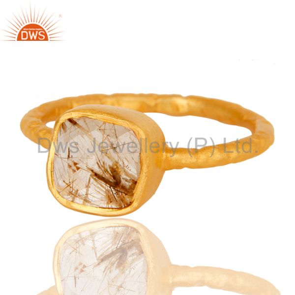 Exporter 18K Yellow Gold Plated Sterling Silver Rutilated Quartz Gemstone Stackable Ring