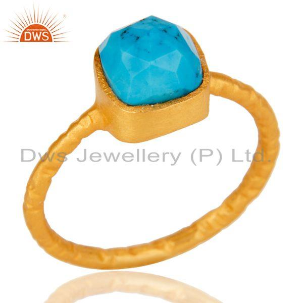 Exporter 22K Yellow Gold Plated Sterling Silver Turquoise Gemstone Stackable Ring
