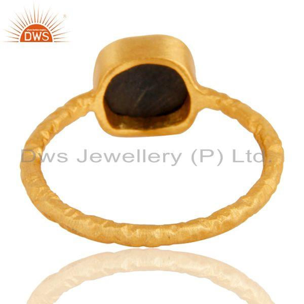 Exporter 18K Rose Gold Plated Sterling Silver Black Onyx Stone Hammered Stacking Ring