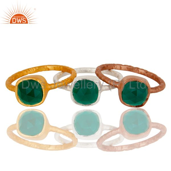 Exporter Rose and Yellow Gold Plated Sterling Silver Green Onyx Hammered Stacking Ring
