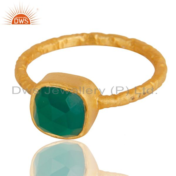 Exporter 18K Yellow Gold plated Sterling Silver Green Onyx Hammered Stacking Ring