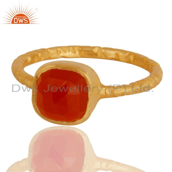Exporter 18K Yellow Gold Plated Sterling Silver Handmade Natural Red Onyx Stackable Ring