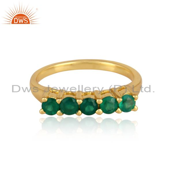 Green onyx set gold on 925 silver classic statement ring