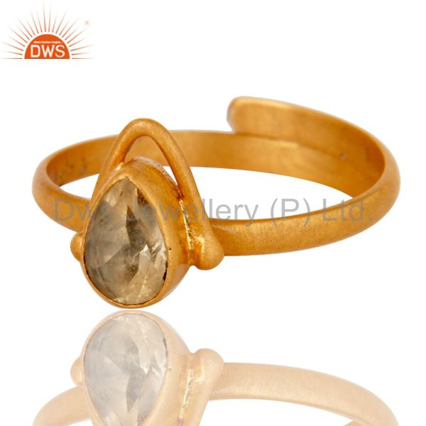 Exporter Solid Sterling silver 18k Yellow Gold Overlay Pear Citrine Adjustable Ring