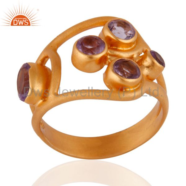 Exporter 1.29cts. Amethyst Gemstone 14k Gold Plated 925 Sterling Silver Ring Jewelry