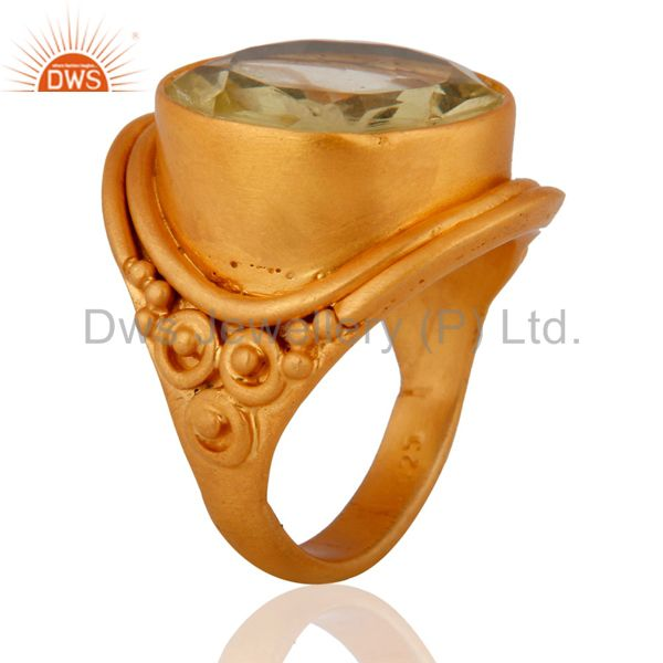 Exporter Designer Lemon Topaz 925 Sterling SIlver Women Ring With 24k Yellow Gold Plated