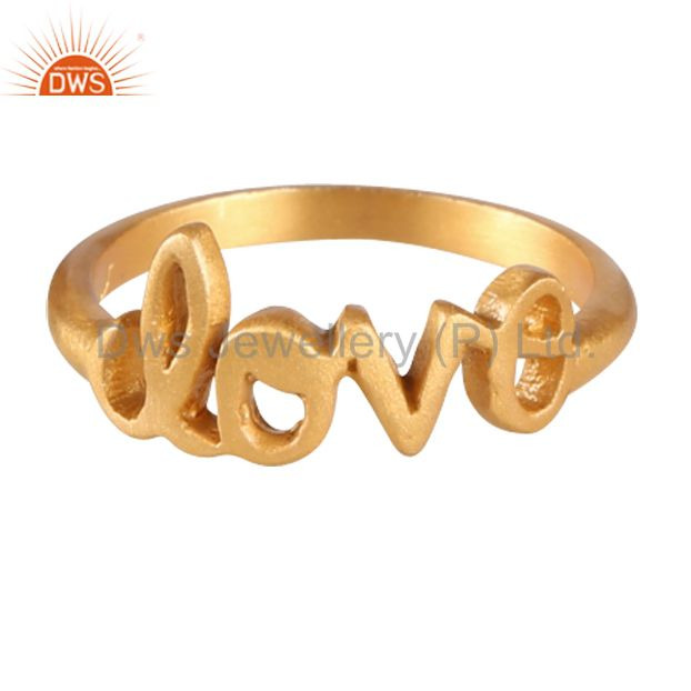 Wholesalers 18K Yellow Gold-Plated Sterling Silver Cursive Style